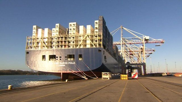 Marco Polo container ship in Southampton