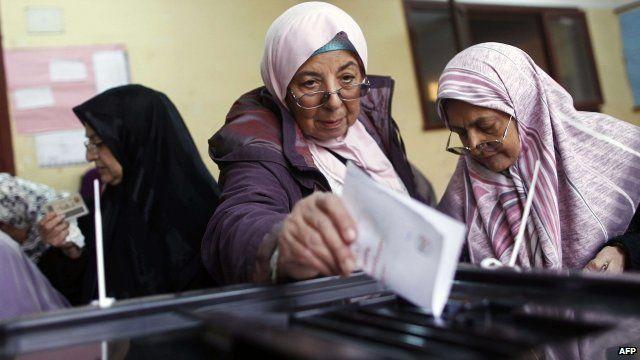 Women voting in Egypt