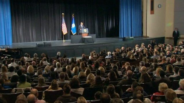 President Obama addresses the congregation at a vigil in Newtown, Connecticut