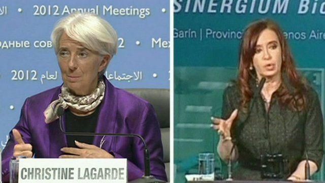 Christine Lagarde and Argentina's President Cristina Fernandez de Kirchner