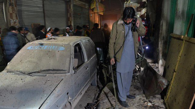 Man surveys damage in Peshawar