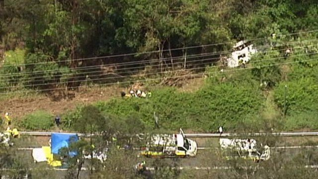 Scene of bus crash on Mount Tamborine in Queensland, Australia