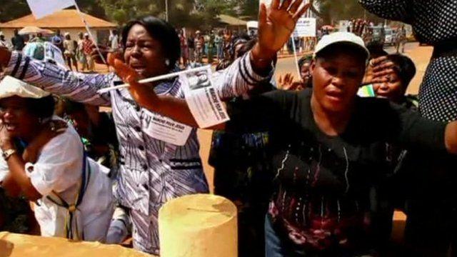 Women protesting in Bangui