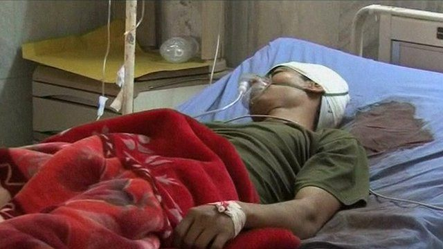 Soldier in hospital