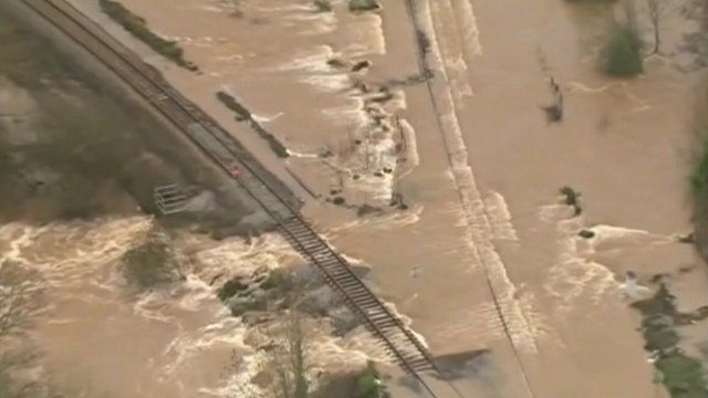 Aerial view of flooded railway lines