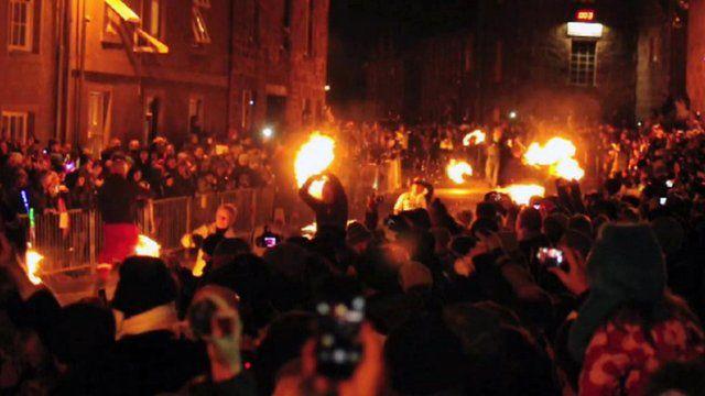 People swing fireballs in Stonehaven