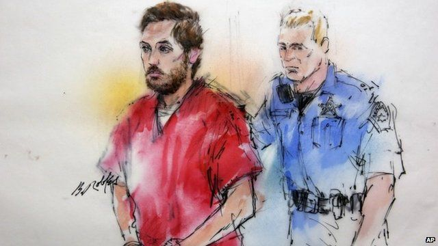 Court sketch of James Holmes as he arrives at a pretrial hearing in Centennial, Colorado 7 January 2012