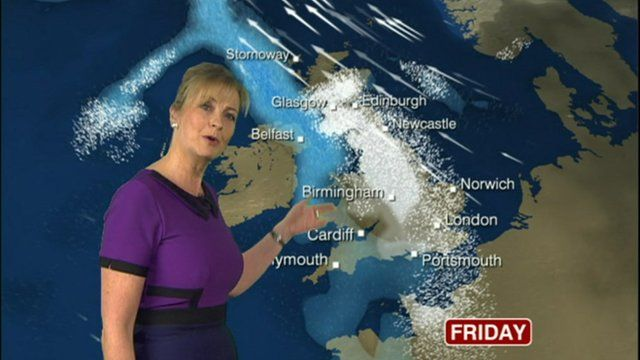 Carol Kirkwood and weather map