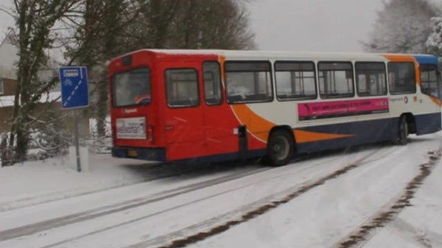 Bus skidding in snow