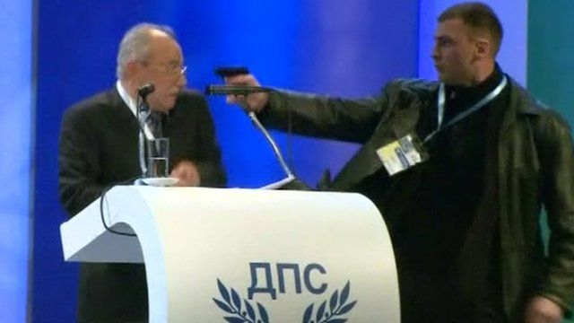 Ahmed Dogan, leader of Bulgaria's ethnic Turkish party was confronted by a gunman