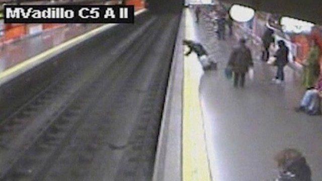 CCTV of woman falling