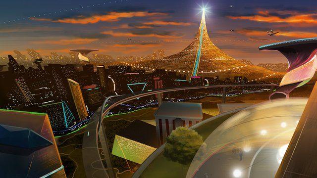 Animation of futuristic city