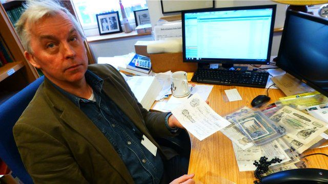 Banknote expert Barnaby Faull from Spink auctioneers