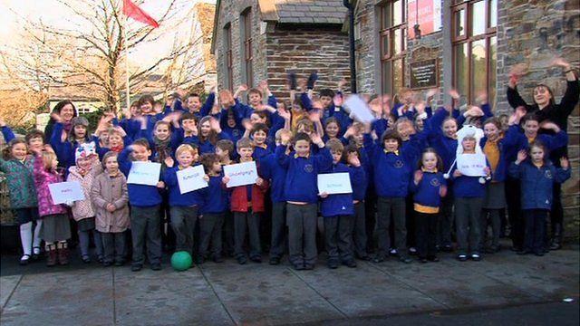 School children at Bunscoill Ghaelgagh on the Isle of Man