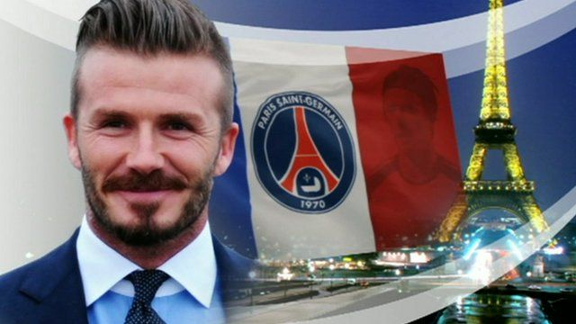 David Beckham with Paris St-Germain flag