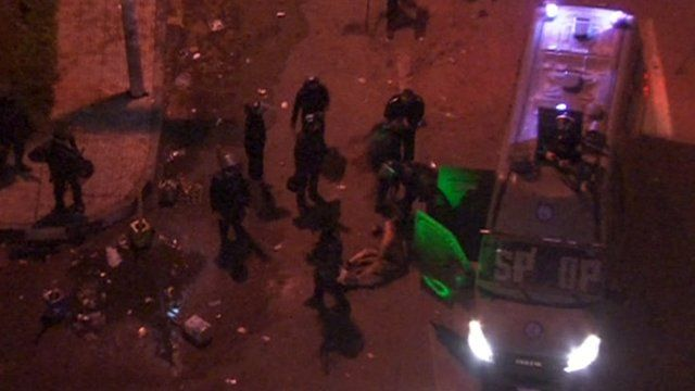 Footage apparently showing police beating naked man