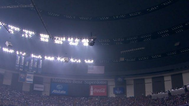 Stadium mostly in darkness