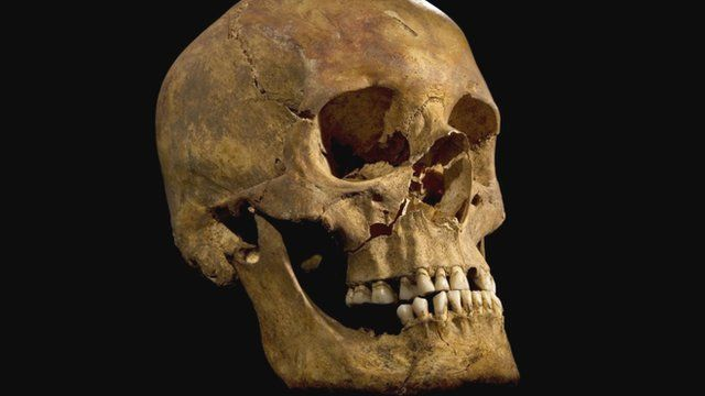 University of Leicester photo of the skull found at Grey Friars