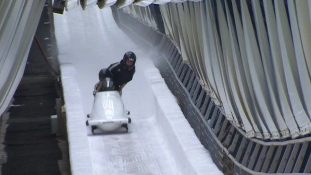 Athletes try out the new bobsleigh track