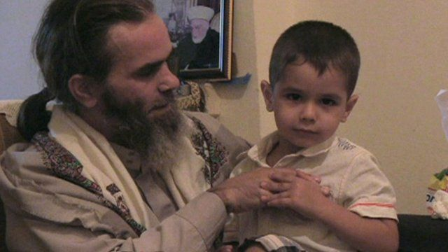 Sheikh Bilal al Masri with his son Muawiya