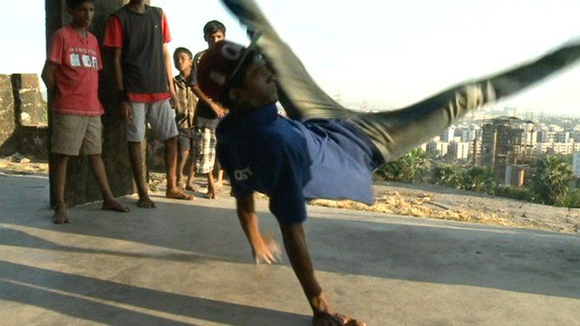 Indian youths breakdancing