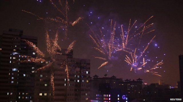 Fireworks light up Beijing skyline