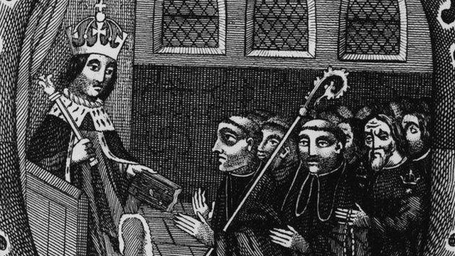 Circa 1490, Henry VII (1457 - 1509), King of England and the first Tudor king from 1485. Seen here presenting a book of instructions to John Islip, Abbot of Westminster.