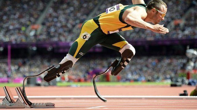 "South Africa""s Oscar Pistorius starts his men""s 400m round 1 heats at the London 2012 Olympic Games at the Olympic Stadium in this August 4, 2012"