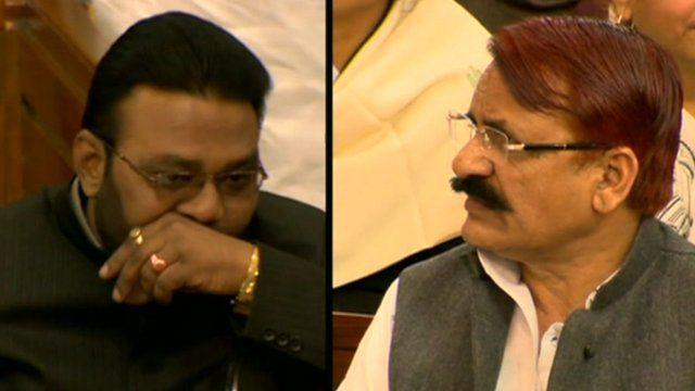 Uttar Pradesh ministers Manoj Kumar Paras and Mehboub Ali