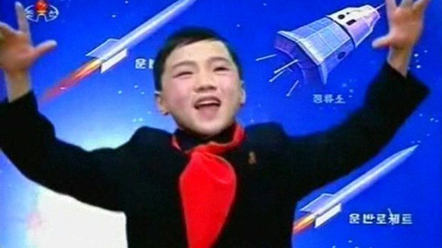 Boy singing on North Korean state television channel KRT