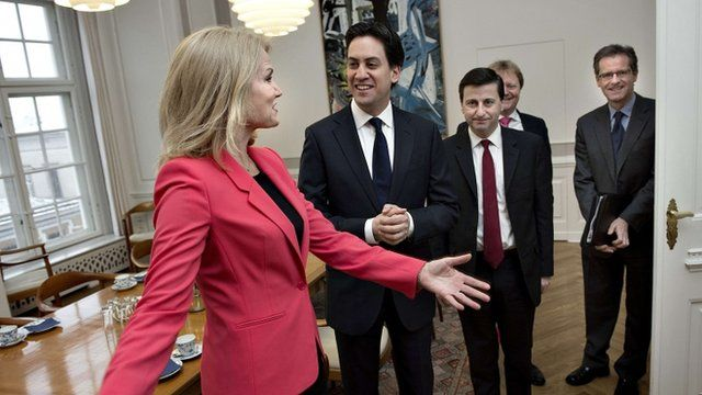 Ed Miliband greeted by Danish Prime Minister Helle Thorning-Schmidt