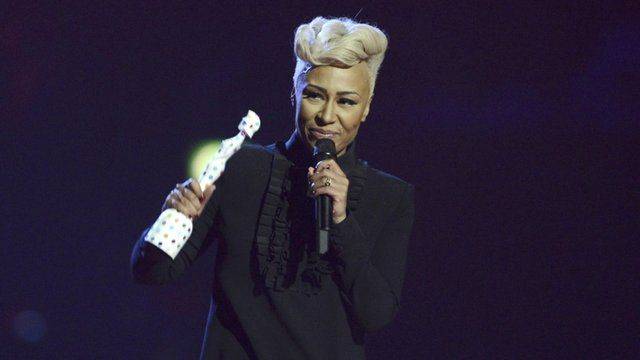 Emeli Sande accepts British Female Solo Artist award at the BRIT Awards
