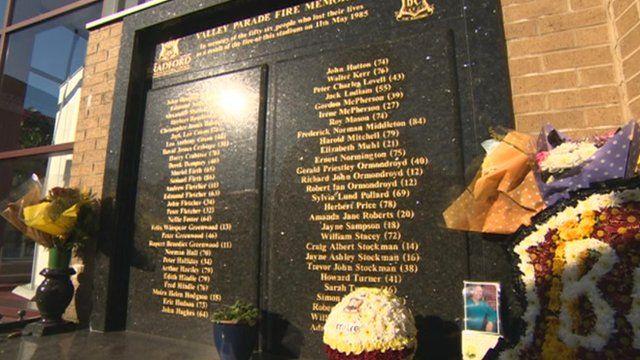 Memorial at Bradford City's ground