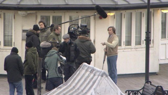 Steve Coogan as Alan Partridge on Cromer Pier