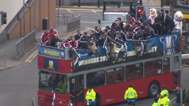 The Swansea City victory parade