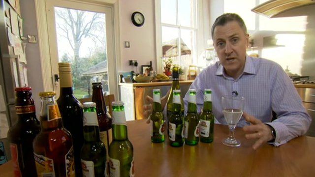 Dominic Hughes explains the guideline maximum alcohol amounts for men (right) and women (left)