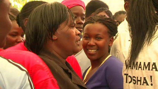 Kenyan women campaigning for votes