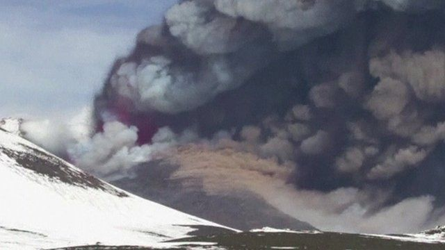 Clouds of ash above Mount Etna
