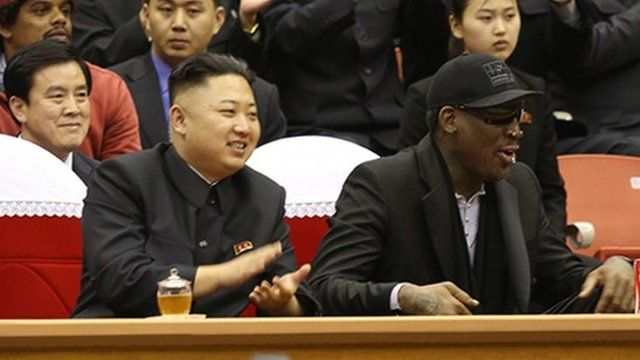 Kim Jong-un and retired US basketball player Dennis Rodman.
