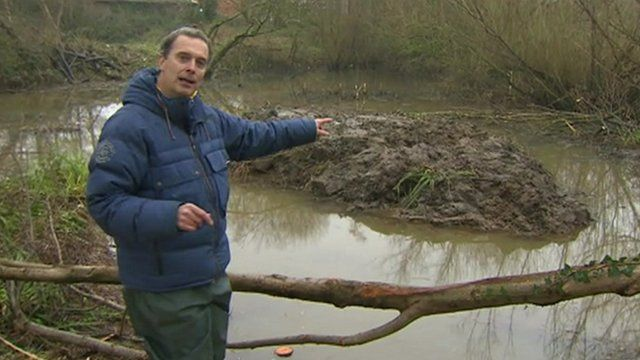 The BBC's Duncan Kennedy at the water vole habitat on the River Brit at Bridport