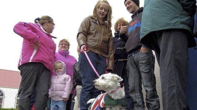 Falkland islanders outside a polling station