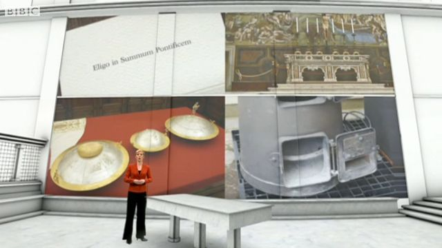 Philippa Thomas inside the virtual Sistine Chapel