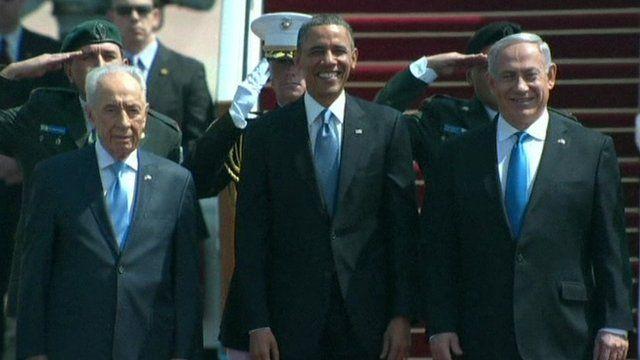 Shimon Peres, Barack Obama, Benjamin Netanyahu