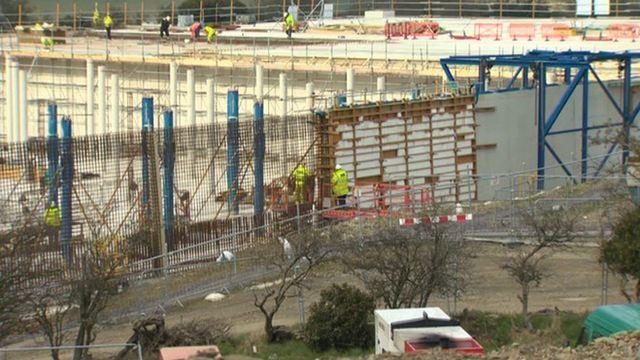 Coed Dolwyd reservoir in Glan Conwy under construction