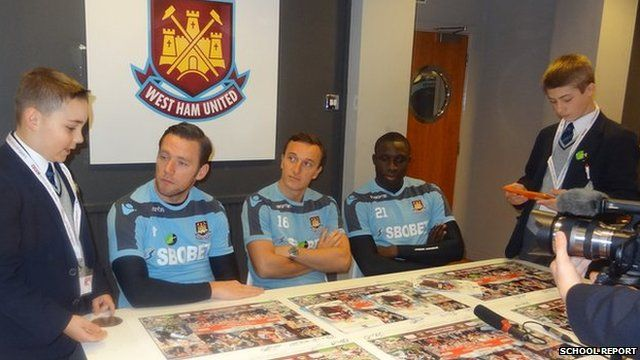 Jack and Josh with West Ham footballers Kevin Nolan