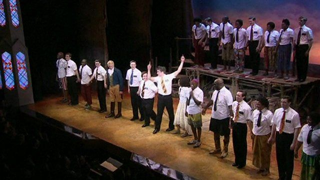 The curtain call at Book of Mormon
