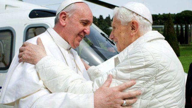 Pope Francis and Pope Emeritus Benedict at Castel Gandolfo - 23 March