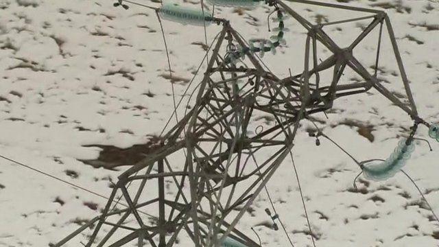 Tangled wreckage of damaged pylon on Isle of Arran