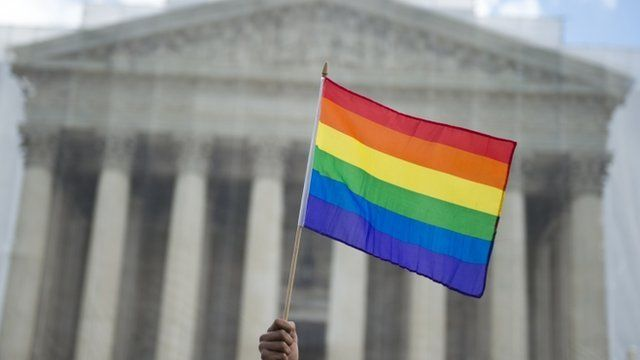 Rainbow flag in front of the US Supreme Court in Washington DC