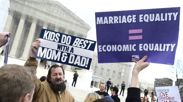 Supporters and opponents of same-sex marriage outside the Supreme Court
